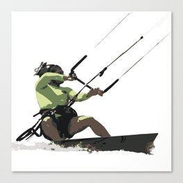 Going With The Wind Kiteboarding Vector Canvas Print