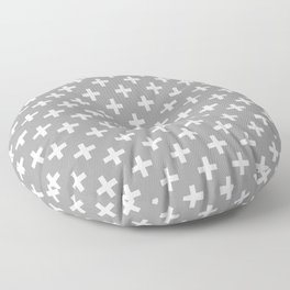 Criss Cross | Plus Sign | Grey and White Floor Pillow