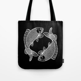 Black White Koi Minimalist Tote Bag