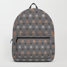 Boho Baby // Middle Eastern Metallic // Scorpion Symbol + Geometric Floral in Charcoal Backpack