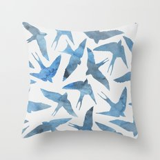 Watercolor blue birds Throw Pillow