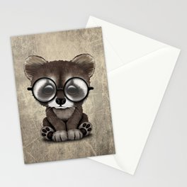 Cute Nerdy Raccoon Wearing Glasses Stationery Cards
