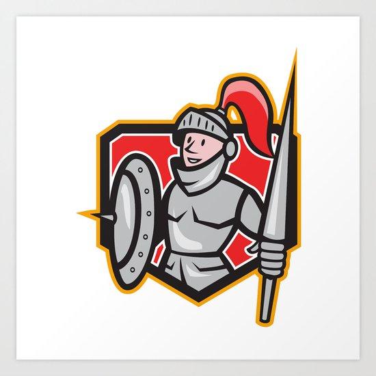Knight Shield Lance Crest Cartoon Art Print