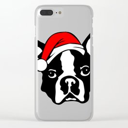 Boston Terrier Dog with Christmas Santa Hat Clear iPhone Case