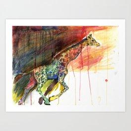 Galloping Giraffe Art Print
