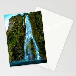 Fiordland Waterfall - Milford Sound, New Zealand Stationery Cards