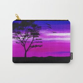 Black tree with birds silhouette Carry-All Pouch