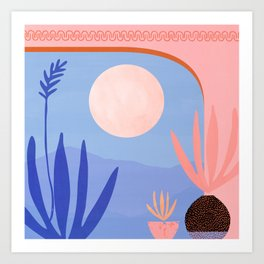 Midnight in the Desert / Blue and Pink Palette Art Print