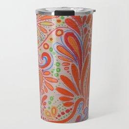 Fall Orange ~Ornate Flowers Travel Mug