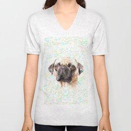 Pointillistic Pug Unisex V-Neck