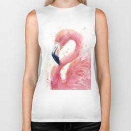 Pink Flamingo Watercolor Biker Tank
