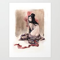 geisha Art Prints featuring Geisha by carlations: Carla Wyzgala illustrations