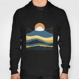 Abstraction landscape minimalist Mount Fuji the great wave ocean Hoody