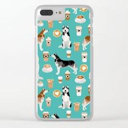 Husky siberian huskies coffee cute dog art drinks latte dogs pet portrait pattern Clear iPhone Case