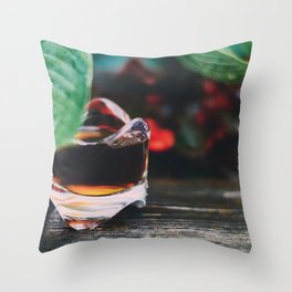 Leaf and Coffee Throw Pillow