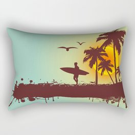 Sunny beach with palm surfer in Hawaii Rectangular Pillow