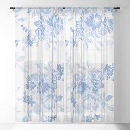 Modern navy blue white watercolor elegant floral Sheer Curtain