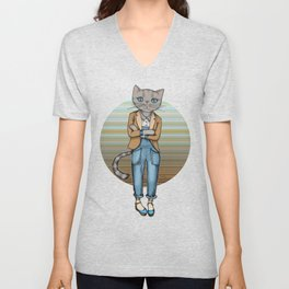 Hipster Kitty Cool Unisex V-Neck