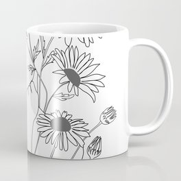 Minimal Line Art Girl with Sunflowers Coffee Mug