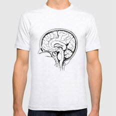 Brain LARGE Ash Grey Mens Fitted Tee