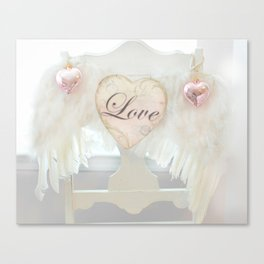 Dreamy Ethereal White Angel Wings Love Heart Print and Love Home Decor Canvas Print
