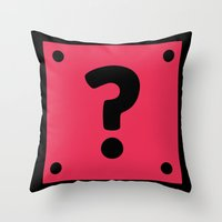 video game Throw Pillows featuring Video Game Mystery Box by Thomas Ramey