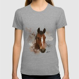 Brown and White Horse Watercolor T-shirt