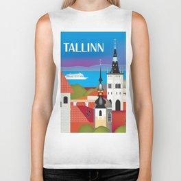 Tallinn, Estonia - Skyline Illustration by Loose Petals Biker Tank