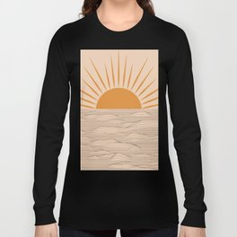 Modern abstract aesthetic background with sun and sea waves, sunset and sunrise illustration Long Sleeve T-shirt
