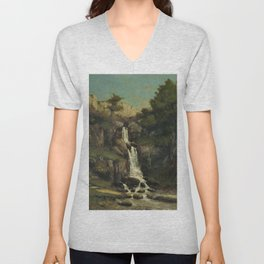 """Gustave Courbet """"La cascade (The waterfall)"""" Unisex V-Neck"""