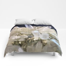 Clear Quartz growing with Pyrite Comforters