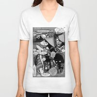 infamous V-neck T-shirts featuring  Bird of Steel Comix – #8 of 8  - (Society 6 POP-ART COLLECTION SERIES) by Tex Watt