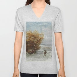 """Gustave Courbet """"Chasseurs dans le neige (Hunters in the snow)"""" Unisex V-Neck"""