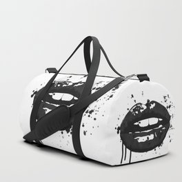 Black and white glamour fashion lips Duffle Bag