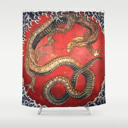 Dragon by Hokusai Shower Curtain