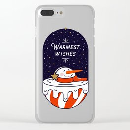 Warm Wishes - melting snowman Clear iPhone Case