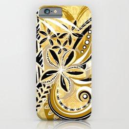 Polynesian - Hawaiin - Samoan Ochre Floral Tribal iPhone Case