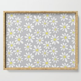 simple daisies on gray Serving Tray
