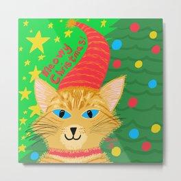 Christmas Cat Long Hair Orange Tabby Blue eyes Metal Print