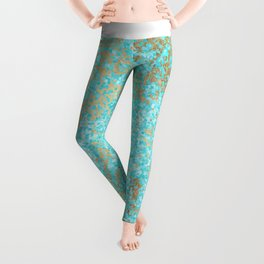 Abstract teal white faux gold modern pattern Leggings