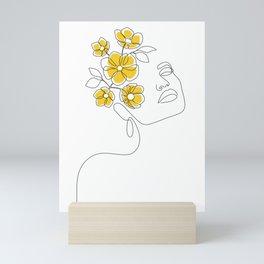 Mustard Bloom Girl Mini Art Print
