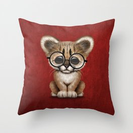 Cute Cougar Cub Wearing Reading Glasses on Red Throw Pillow