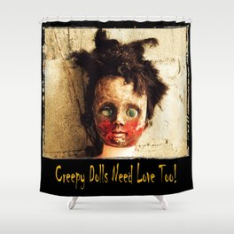 Creepy Doll Shower Curtain