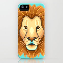 Modern pixel lion head on cyan background iPhone Case
