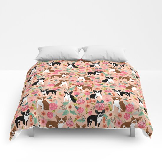 Boston Terrier cute floral pattern spring summer happy pet portrait dog person gift must haves dogs Comforters