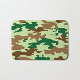 Camouflage Print Pattern - Greens & Browns Bath Mat
