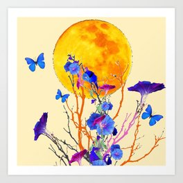 BLUE BUTTERFLIES MORNING GLORY  FULL MOON ART Art Print