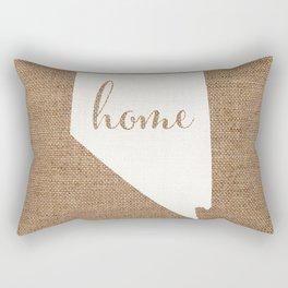 Nevada is Home - White on Burlap Rectangular Pillow