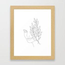 Minimal Line Art Woman Face Framed Art Print
