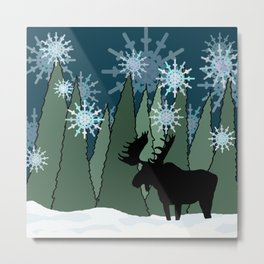 Moose in the Snowy Forest Metal Print